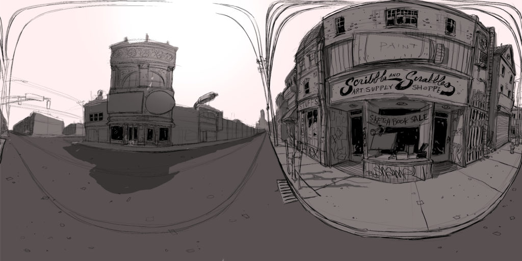 Scribble and Scrabble street view rough sketch
